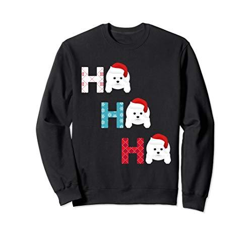 Funny Ho Ho Ho Bichon Frise Dog Santa Christmas crewneck s
