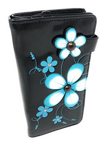 Shagwear Large Women's Purse Wallet - Funky Flower Black from Shagwear