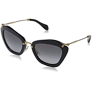 Miu Miu MU10NS 1AB3M1 Sunglasses, Black Frame, Grey Lens 55mm