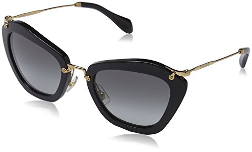 Miu Miu MU10NS 1AB3M1 Sunglasses, Black Frame, Grey Lens - Cat Miu