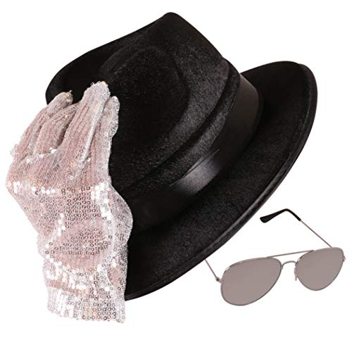 Narwhal Novelties Pop Star Hat, Glasses & Sequin Glove Costume Accessory Set; Fits Kids & Adults -