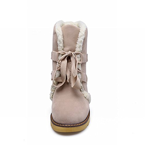 Nubuck Faux Low Wedge Beige Lace Womens Flat Winter Latasa Short Inside Boots up E50qOSUSg