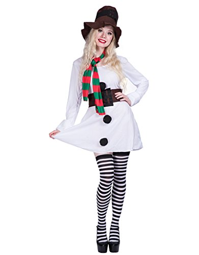 EraSpooky Halloween Adult Snowgirl Costume Dress(White,