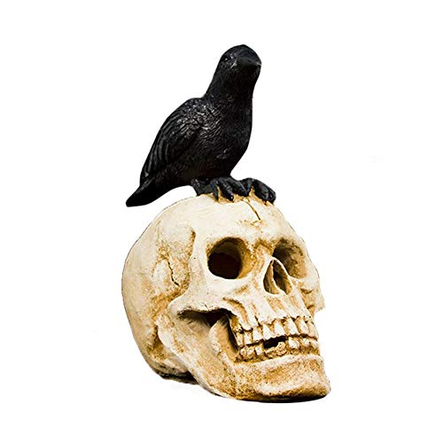 Edgar Allan Poe Halloween Party Ideas (Bohisen Halloween Black Crow Skull Head Figurine - Skeleton Ornament Bones Gothic Art -)