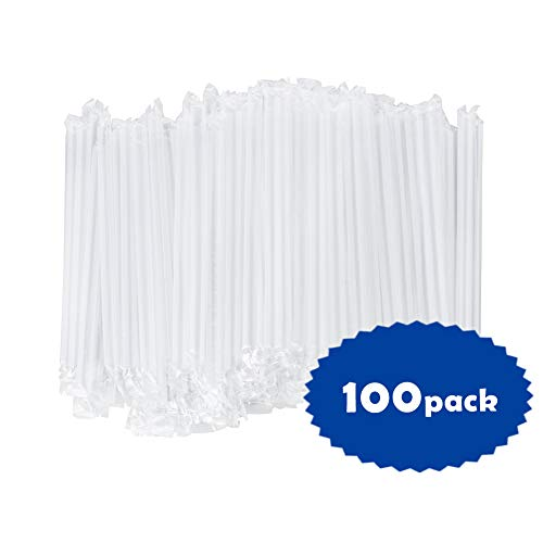 OTOR Jumbo Plastic Drinking Straws Individually Wrapped, Smoothie Boba Straws Extra Wide Clear, 8.7 Inch long, Pack of 100