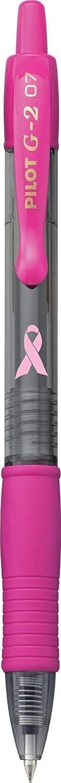 1 12 Count PILOT G2 Premium Pink Ribbon Retractable Gel Roller Ball Pen Fine Point Black Ink