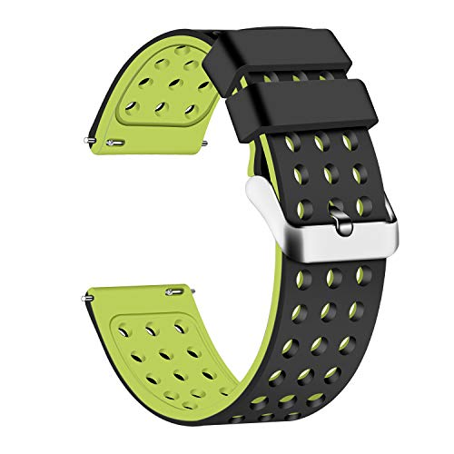 (Lwsengme Silicone Quick Release - Choose Color & Width (18mm, 20mm,22mm) - Soft Rubber Watch Bands (Black/Fluorescent Yellow, 22mm))