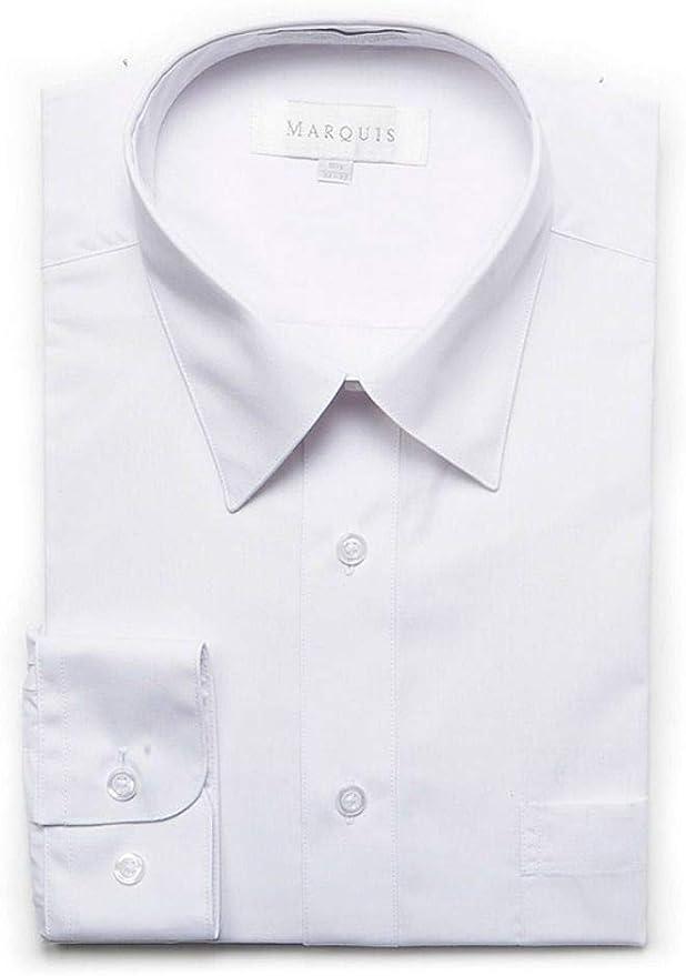 Marquis Mens Slim Fit Solid Light Blue Cotton Blend Dress Shirt