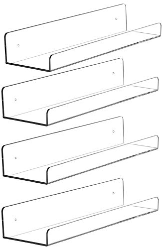 """Cq acrylic 15"""" Invisible Acrylic Floating Wall Ledge Shelf, Wall Mounted Nursery Kids Bookshelf, Invisible Spice Rack, Clear 5MM Thick Bathroom Storage Shelves Display Organizer, 15"""" L,Set of 4"""