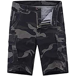 YKARITIANNA Mens Cotton Relaxed Fit Fit Outdoor Camouflage Camo Cargo Shorts