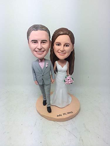 Custom Personalized Wedding Cake Topper Bobble Head Clay Figurine Based on Customers' Photos Birthday Cake Topper Wedding Gifts Decoration (2) (Bobble Head Custom 2)