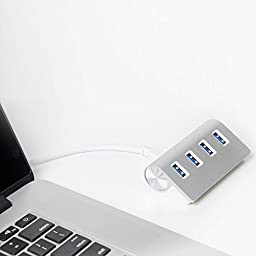 EEEKit Premium Portable High Speed 4 Port Aluminum USB 3.0 Hub with High Capacity Power Supply for iMac MacBook Pro Air Mac Mini PC & Laptop