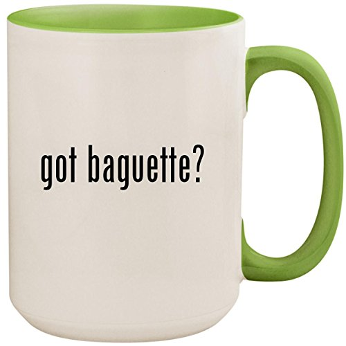 got baguette? - 15oz Ceramic Colored Inside and Handle Coffee Mug Cup, Light Green