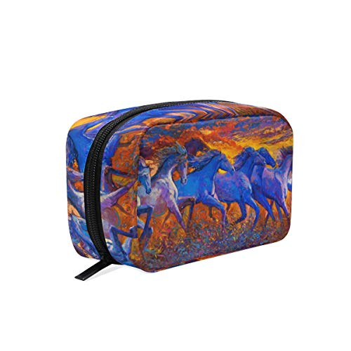 Horses Running Oil Painting Small Makeup Bag Purse Travel Makeup Pouch Mini Cosmetic Case Women Girls