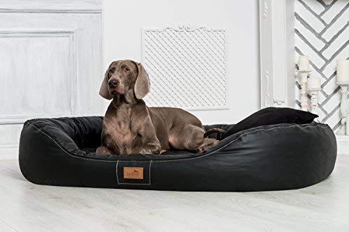 Tierlando® Ultimate Lennart Orthopedic Dog Bed with Visco plus Mattress   Faux Leather   Premium Lounge  L 100 cm Black