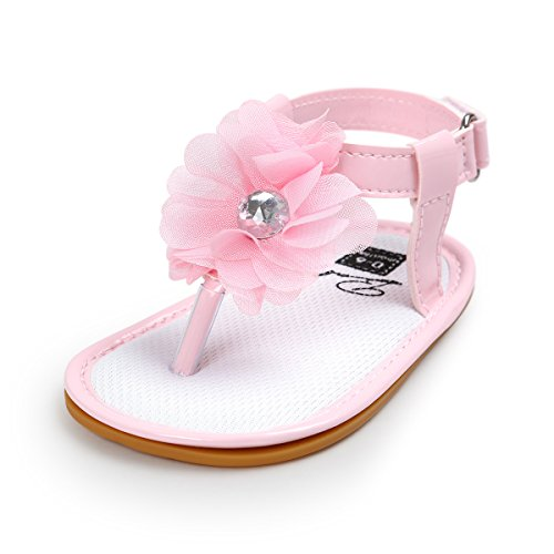 (Isbasic Baby Girls Sandals Bohemia Flower Bow Soft Sole Toddler First Walkers Beach Summer Shoes (6-12 Month M US Infant, A-Pink) )