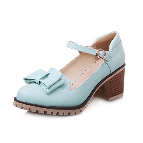Amoonyfashion Damesgesp Gesloten-teen Kitten-hakken Pu Stevige Pumps-schoenen Blauw