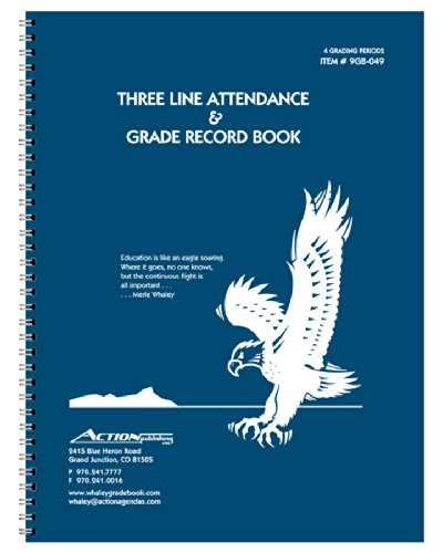 Whaley Gradebook (9 x 12 inches) 3-Line Grade Record Book, Four 10-Week Sessions (9GB-049)