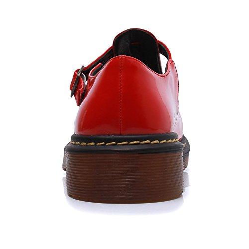 Zapatos planos de punta redonda, con hebilla clásica, para mujer, de Smilun Red