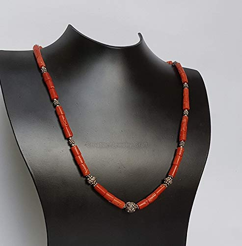 Mediterranean Red Coral Necklace, Dubrovnik Filigree Necklace, Untreated Natural Coral Pendant Necklace, Sterling *Exp Shipping