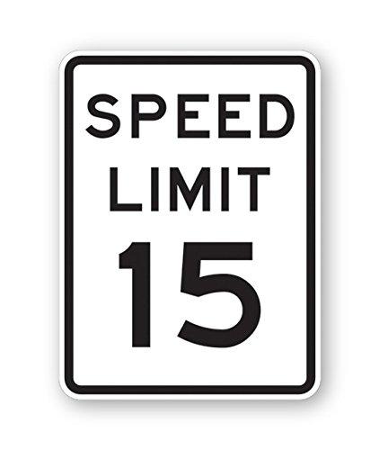 Tapco R2-1 High Intensity Prismatic Rectangular Lane Control Sign, Legend ''SPEED LIMIT 15'', 18'' Width x 24'' Height, Aluminum, Black on White