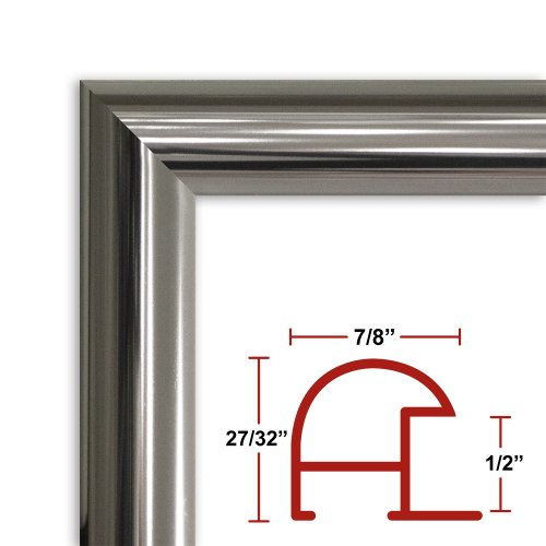 27 x 50 Shiny Silver Poster Frame - Profile: #16 Custom Size Picture Frame by Poster Frame Depot