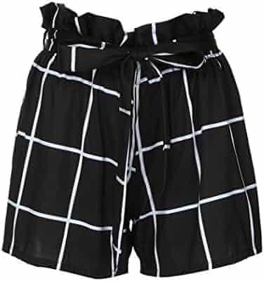 6224a352fc Inkach - nkach Womens Mid Waist Shorts - Plaid Printed Summer Beach Short  Pants Trousers