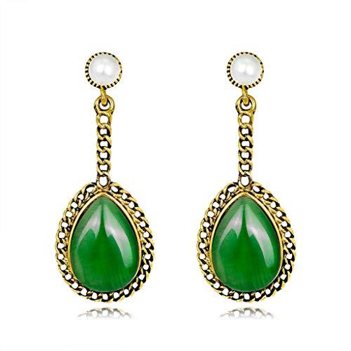 Kofun 1 Pair of Opal Earrings, Retro Opal Teardrop Earrings Oval Shiny Alloy Opalite Pendant Danglers Jewelry Green
