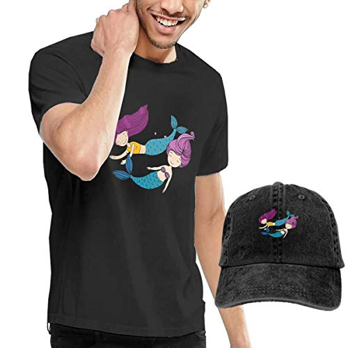Gili-Boom Merpeople Men's Short Sleeve Crewneck Cotton T-Shirt And Dad Hat Baseball Cap Polo Style For Men's