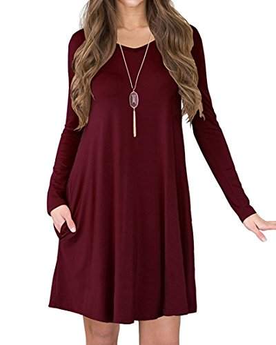 Womens V-Neck Long Sleeve A-line Casual Tshirt Dress with Pocket Wine Red Large