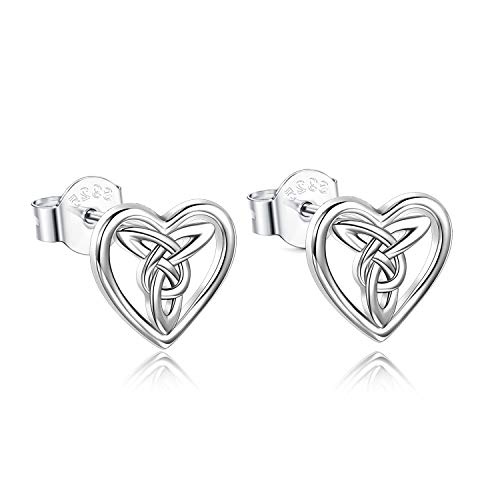 Celtic Knot Earrings Sterling Silver Love Knot Heart Irish Celtics Studs Jewelry for Women Teen Girls