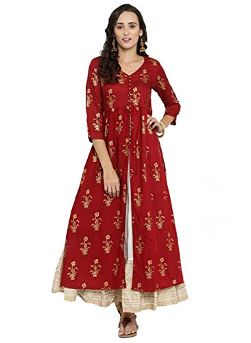 Designer Kurta Kurti Indian Ethnic Party Wear Women Dress Top Tunic Blouse (M) Maroon