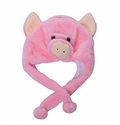 Sepia Animal Plush Earmuff Winter Warm Fluffy Cap (Pig)