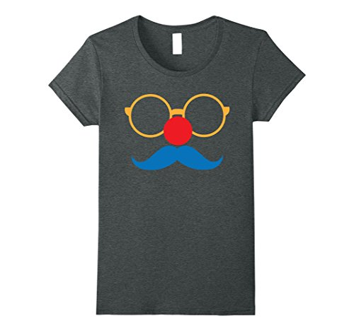 Womens Hipster Disguise Red Nose Day Blue Mustache Glasses Shirt Medium Dark (Vintage Circus Performer Costume)