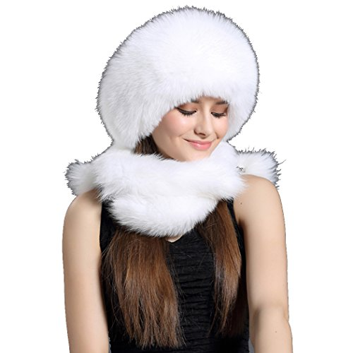 BeFur Womens Winter Hat Genuine Fur Trapper Russian Pom Cap