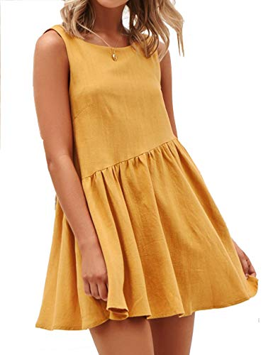 LOMON New Swing Casual Short Mini Dress Yellow Blackless Dress with Pocket(Yellow,M)