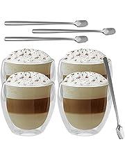 Gomaihe 250 ml X4 dubbelwandige glazen latte macchiato glas set met lepel X4 theeglazen set cappuccino kopjes koffieglazen cocktailglazen thermoglazen gebruikt voor koffiekopje koffiezetapparaat