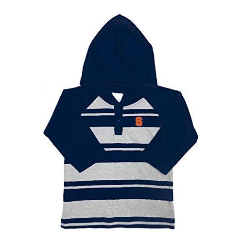 Syracuse Embroidered Long Sleeve (NCAA Syracuse Orange Toddler Boys Rugby Long Sleeve Hooded Shirt, Size 4, Navy/Heather)