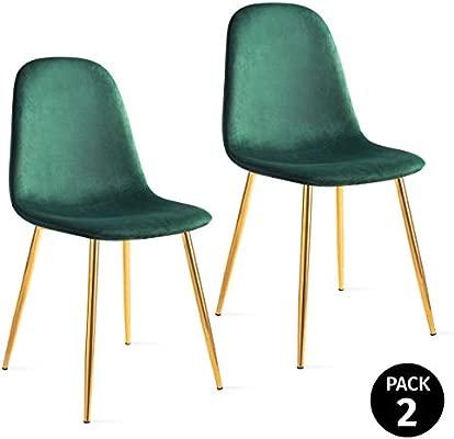 Mc Haus Verde Pack 2 Sillas Salón Comedor AFRA Color, Telas, 46x43x86cm