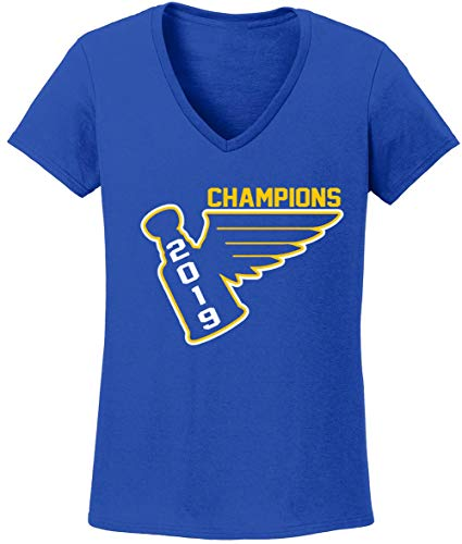 - Blue Blues Stanley Cup 2019 Champions Championship Ladies V-Neck T-Shirt Adult