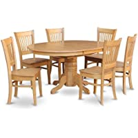East West Furniture AVVA7-OAK-W 7-Piece Dining Table Set