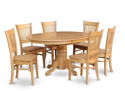 East West Furniture AVVA7-OAK-W 7-Piece Dining Table Set ()