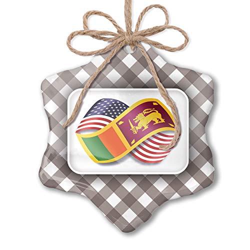 NEONBLOND Christmas Ornament Infinity Flags USA and Sri Lanka Grey White Black Plaid