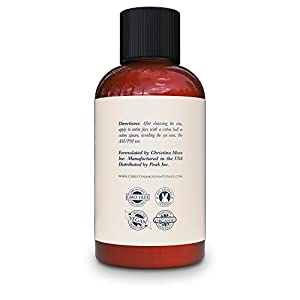 Facial Toner, Organic and 100% Natural Face Toner for All Skin Types. Clearing, Refines, Tightens Pores, Hydrates & Restores pH. No Harmful Chemicals or GMOs. Christina Moss Naturals (4oz Unscented).