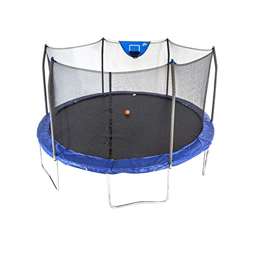 Skywalker Trampolines 15-Foot Jump N' Dunk Trampoline with Enclosure Net – New and Improved Basketball Hoop – Added Safety Features – Meets or Exceeds ASTM – Made to Last – Basketball Trampoline – DiZiSports Store