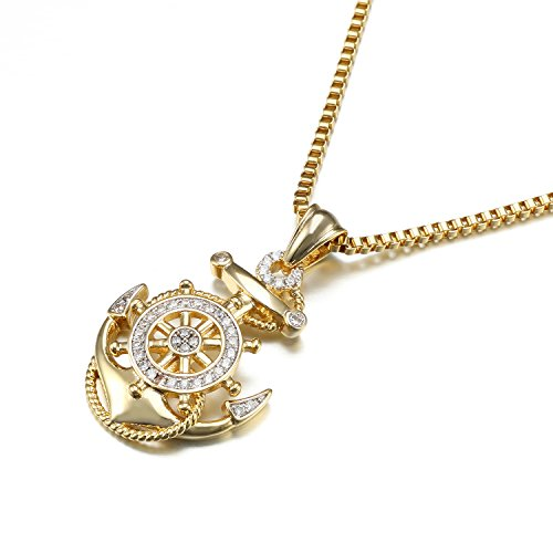 (VANAXIN Rhinestones Anchor Pendant Necklace Men Women Jewelry)