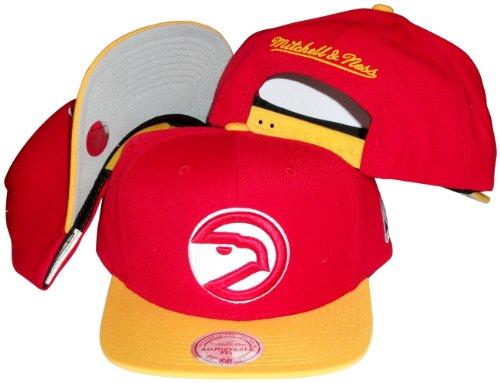 Atlanta Hawks Red/Yellow Two Tone Snapback Adjustable Plastic Snap Back Hat / Cap