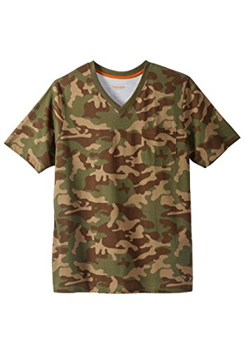 Boulder Creek Men's Big & Tall Heavyweight Pocket V-Neck Tee, Olive Camo (Big And Tall Mens Clothing V Neck)