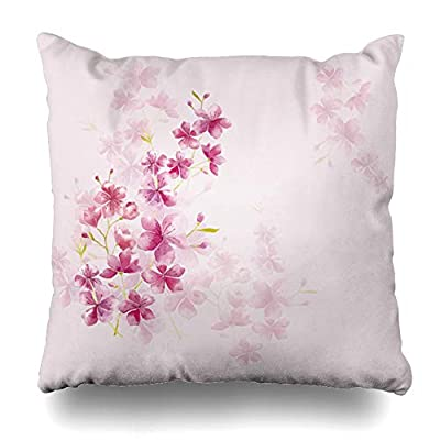 LILALO Throw Pillow Covers, Spring Cherry Blossom Floral Double-Sided Pattern Sofa Cushion Cover Couch Decoration Home Gift Bed Pillowcase 18x18 inch