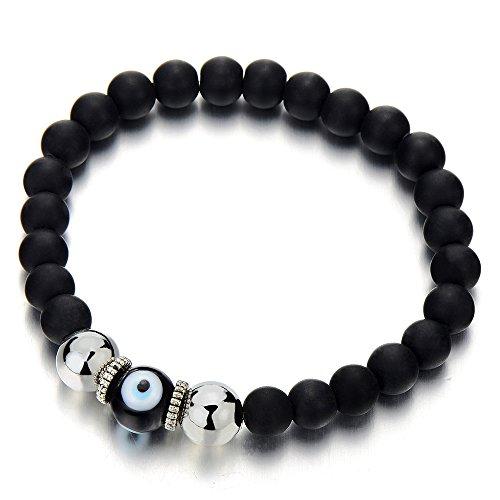 Glass Evil Eye Necklace (Mens Women Mat Black Bead Bracelet with Murano-style Glass Evil Eye Bead, Protection Prayer Mala)
